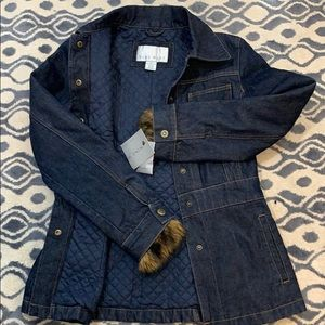 NWT Nine West Jean Jacket Quilted Lined w faux Fur